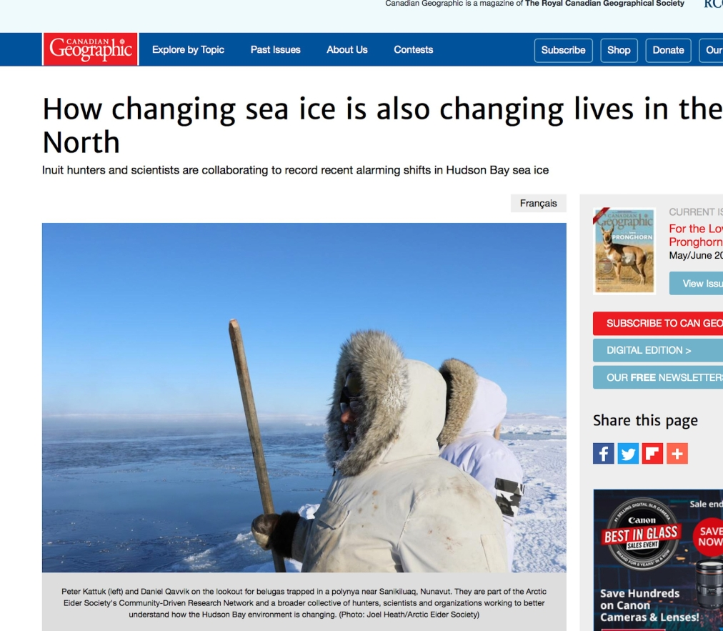 Our work featured in Canadian Geographic!